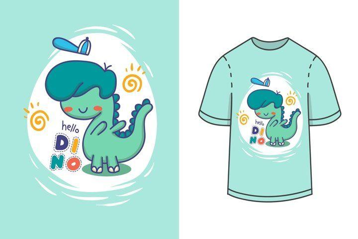 Hello dino with dinosaur illustration kids t shirt design (555441) | Illustrations | Design Bundles