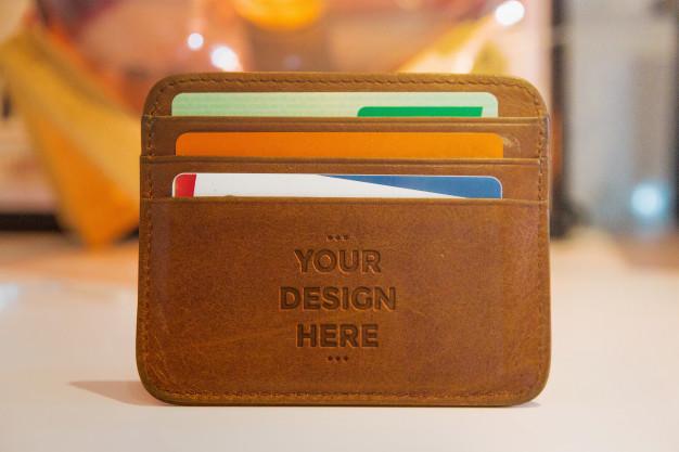 Leather Press Wallet Mockup Wallet Brown Wallet Leather