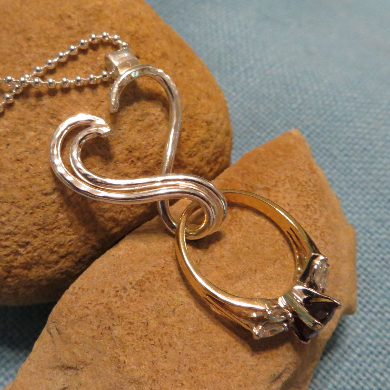 Engagement Ring Holder Necklace Silver Open By JJDLJewelryArt, $95.00