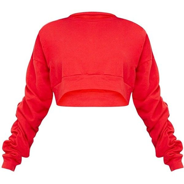 17a5444f4ee Red Ruched Sleeve Oversized Cropped Sweater ($25) ❤ liked on Polyvore  featuring tops, sweaters, shirts, red sweater, shirt top, cut-out crop tops,  ...