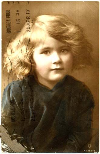 Colorized photo of a pretty little girl