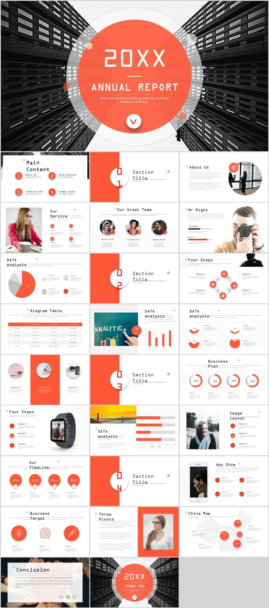 Red Creative Report Design Powerpoint Template Pcslide Com