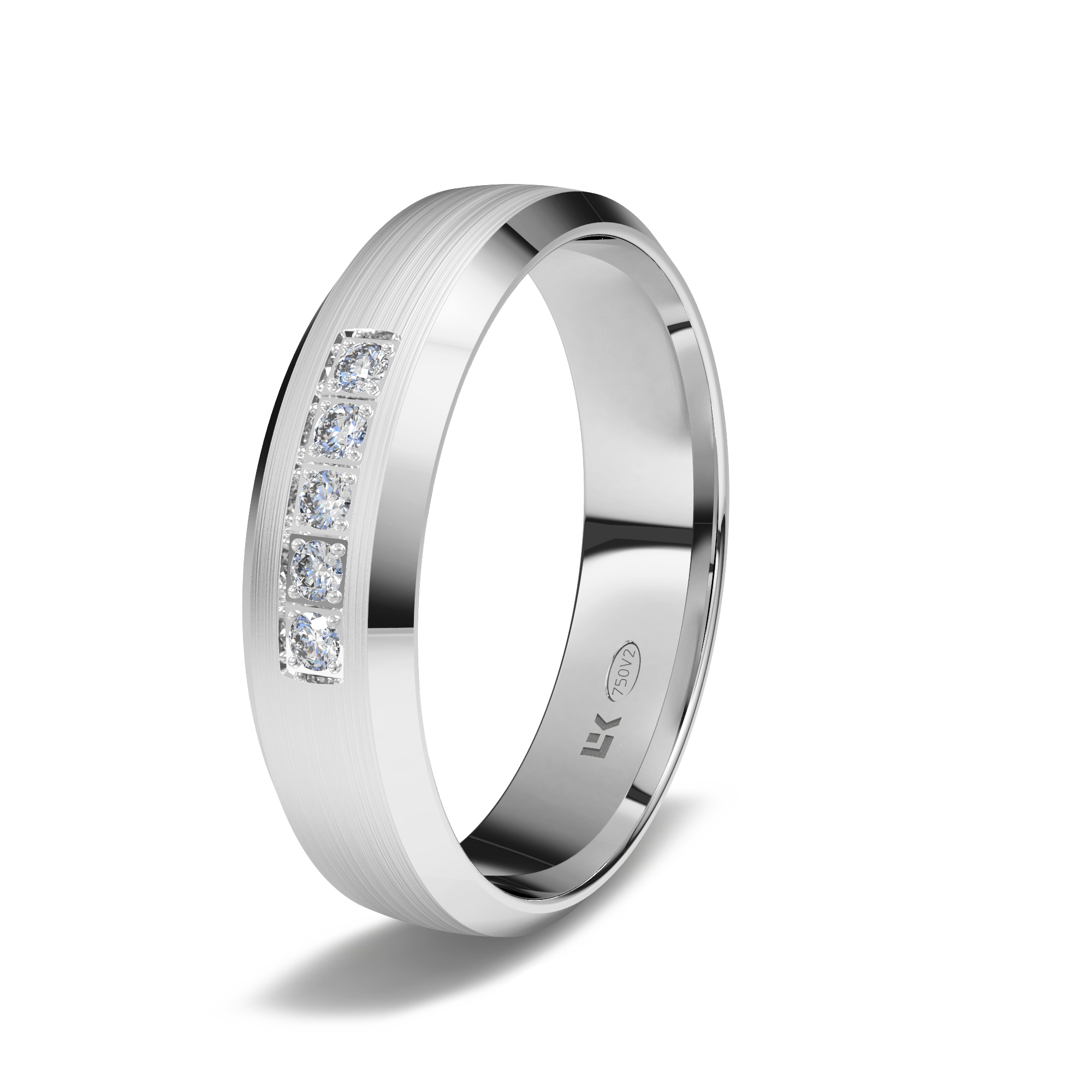Alianza De Oro Blanco De 18k 5mm Diamantado 5 Brillantes Hvs 0 075ct Ele Ka España Oro Blanco Alianzas De Oro Blanco Oro