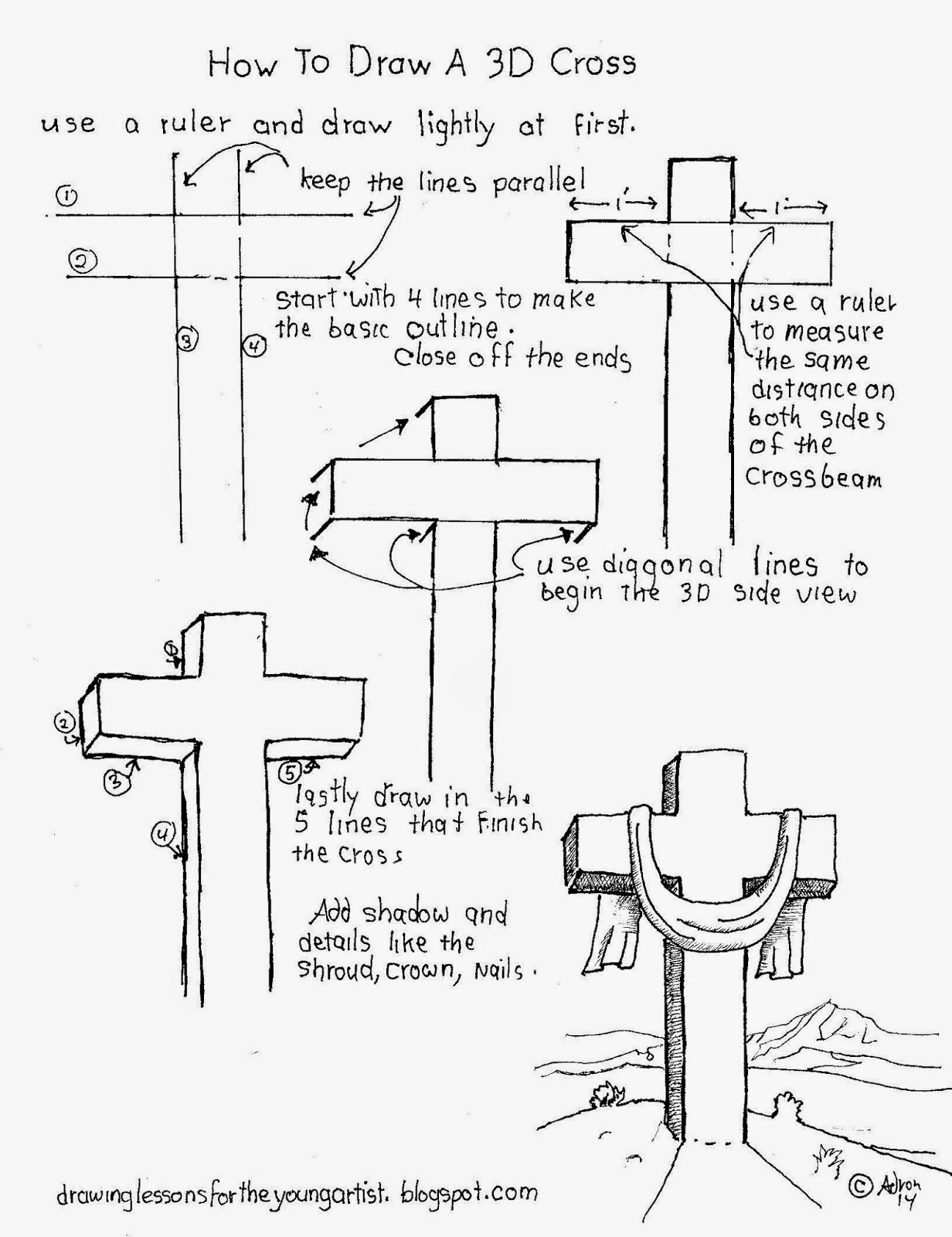How To Draw Worksheets For The Young Artist How To Draw A 3d Cross Christian Worksheet