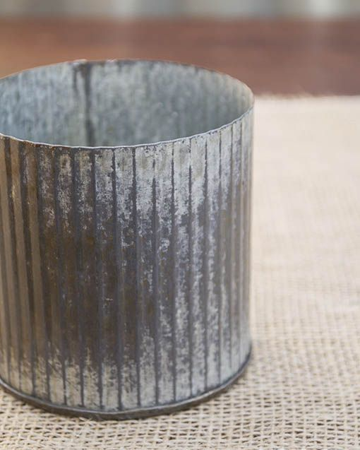 Rustic Tin Vase Corrugated Sides 325 X 325 Galvanized Metal