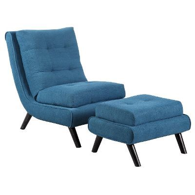 Best Tufted Blue Scoop Accent Chair Ottoman Contempo Blue 400 x 300