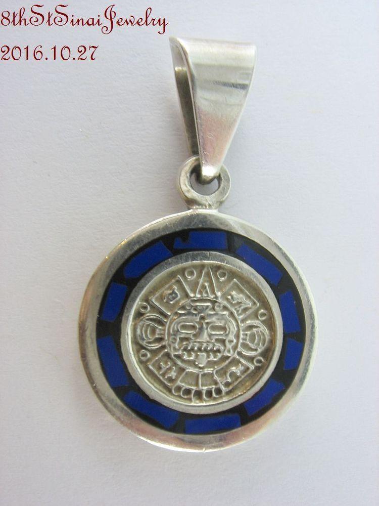 Estate sterling silver 925 inlaid lapis aztec style pendant 1 38 estate sterling silver 925 inlaid lapis aztec style pendant 1 3 8 l mexico mozeypictures Images