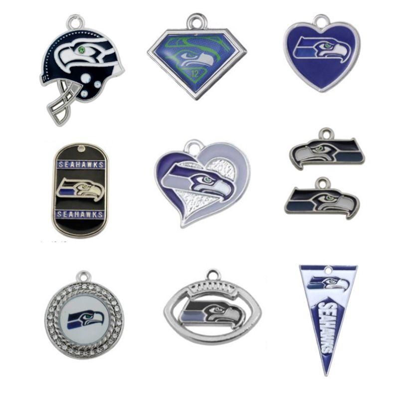 Popular Enamel Football Team Seahawks Pendant Charms Fit For All DIY Necklace & Bracelet & Earring Sport Jewelry