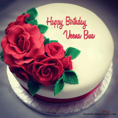 Best roses birthday cake for lover with name veena bua nidhi best roses birthday cake for lover with name veena bua bookmarktalkfo Image collections