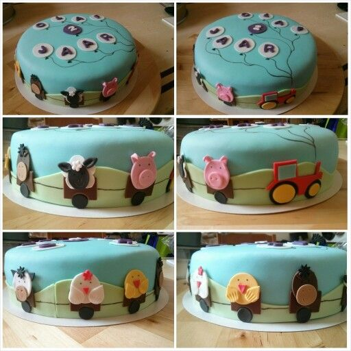 Farm animal cake with balloons