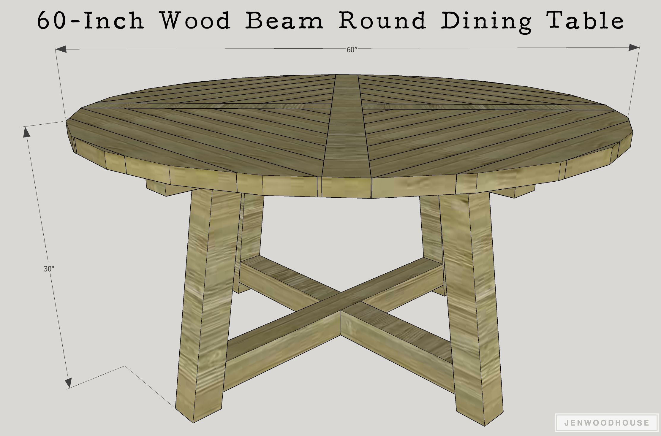 Diy Wood Beam Round Dining Table For The Home Dining