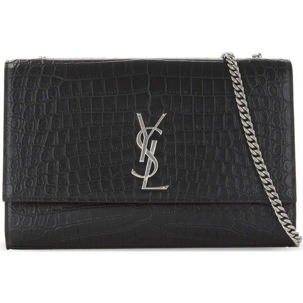 bf3e0aaaa66 Saint Laurent Monogram Kate large crocodile-embossed cross-body bag  ($2,130) ❤ liked on Polyvore featuring bags, handbags, shoulder bags, chain  shoulder ...