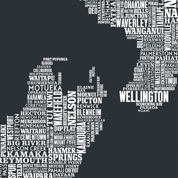 New zealand type map poster by bold noble in sheer slate art new zealand type map poster by bold noble in sheer slate art prints gumiabroncs Images
