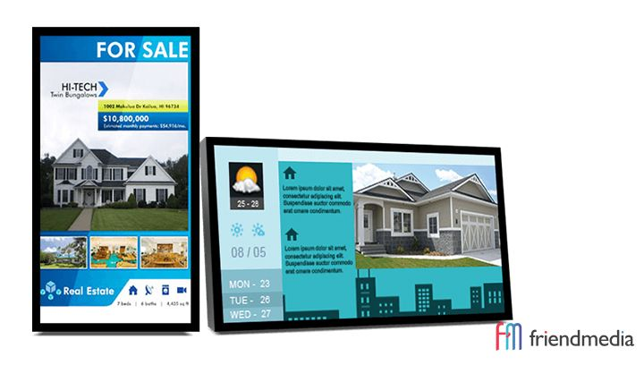 The uses of real estate digital signage are incredibly unique and have plenty of space for customization options that can fit the vibe of the real estate agent or property management company. http://friendmedia.com/blog/digital-signage-in-the-real-estate-industry/?ref=social