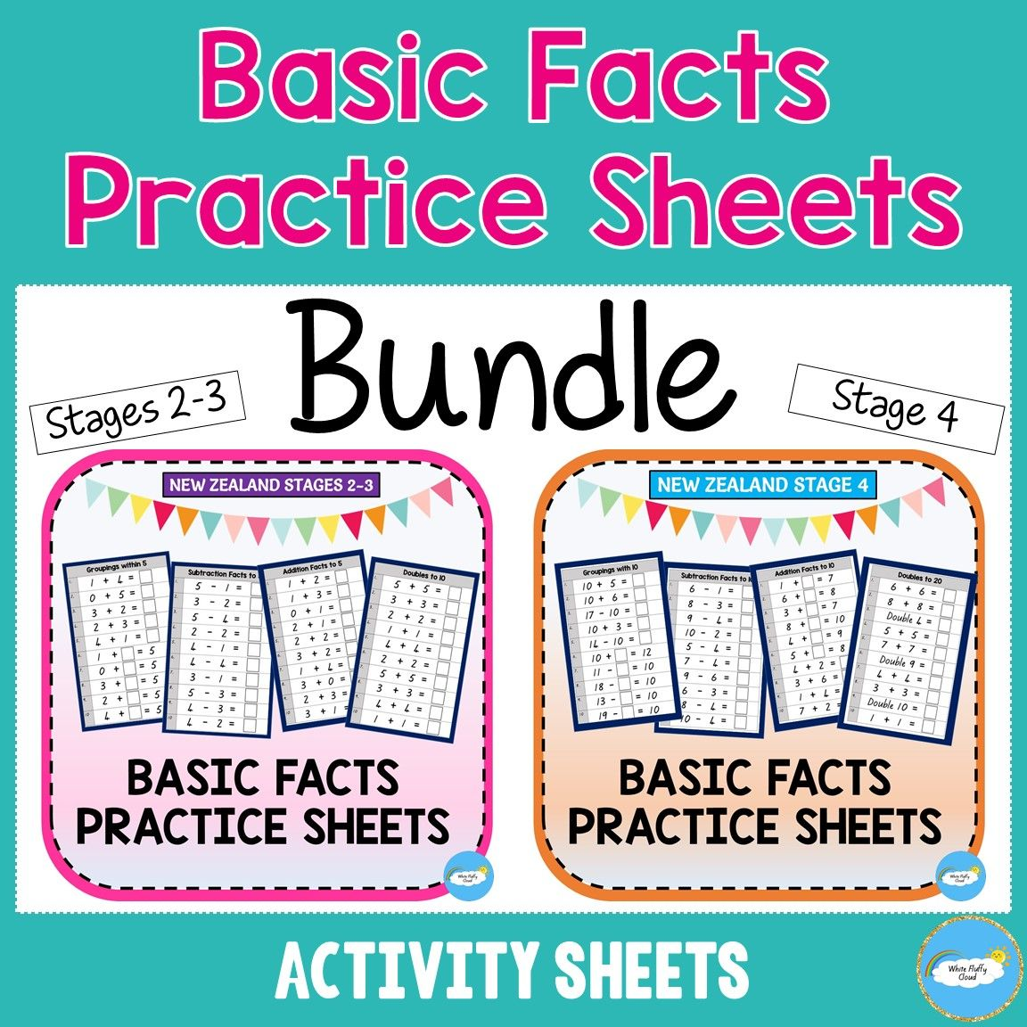 Bundle Basic Facts Practice Sheets Nz Stages 2 3 Stage 4 In 2020 Basic Facts Practice Basic Facts Practice Sheet
