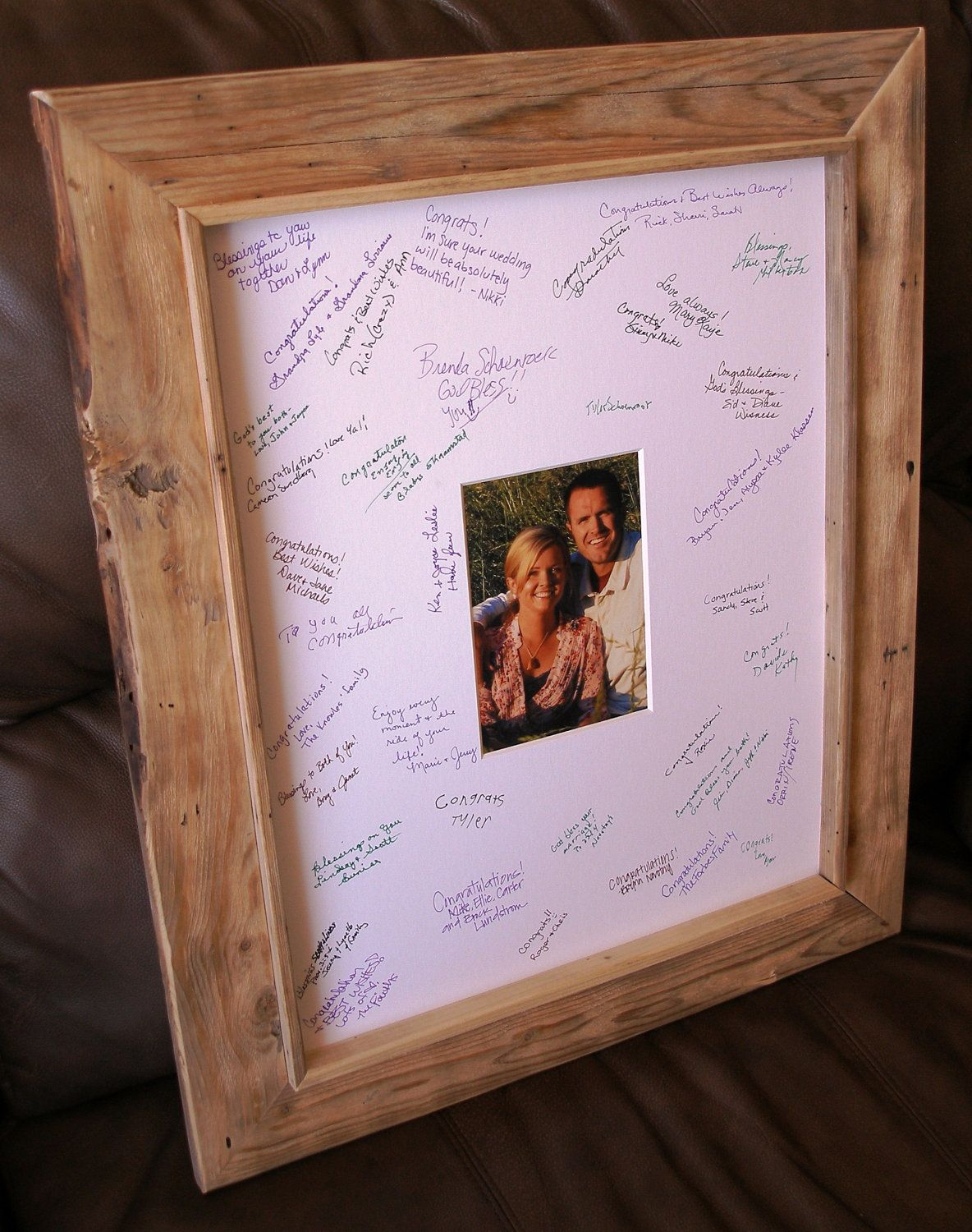 Rustic personalized frame with guest signature for memories ...