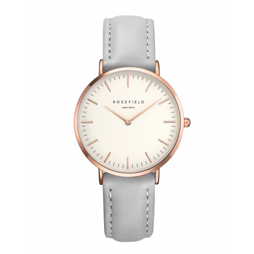 Rose gold ladies watch Tribeca - grey leather strap | ROSEFIELD Watches | Rosefield, Rose gold watches, Pink gold jewelry