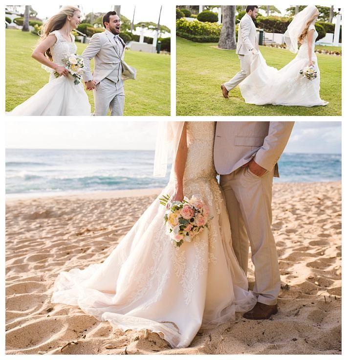Beach Wedding With A Modest Wedding Dress By