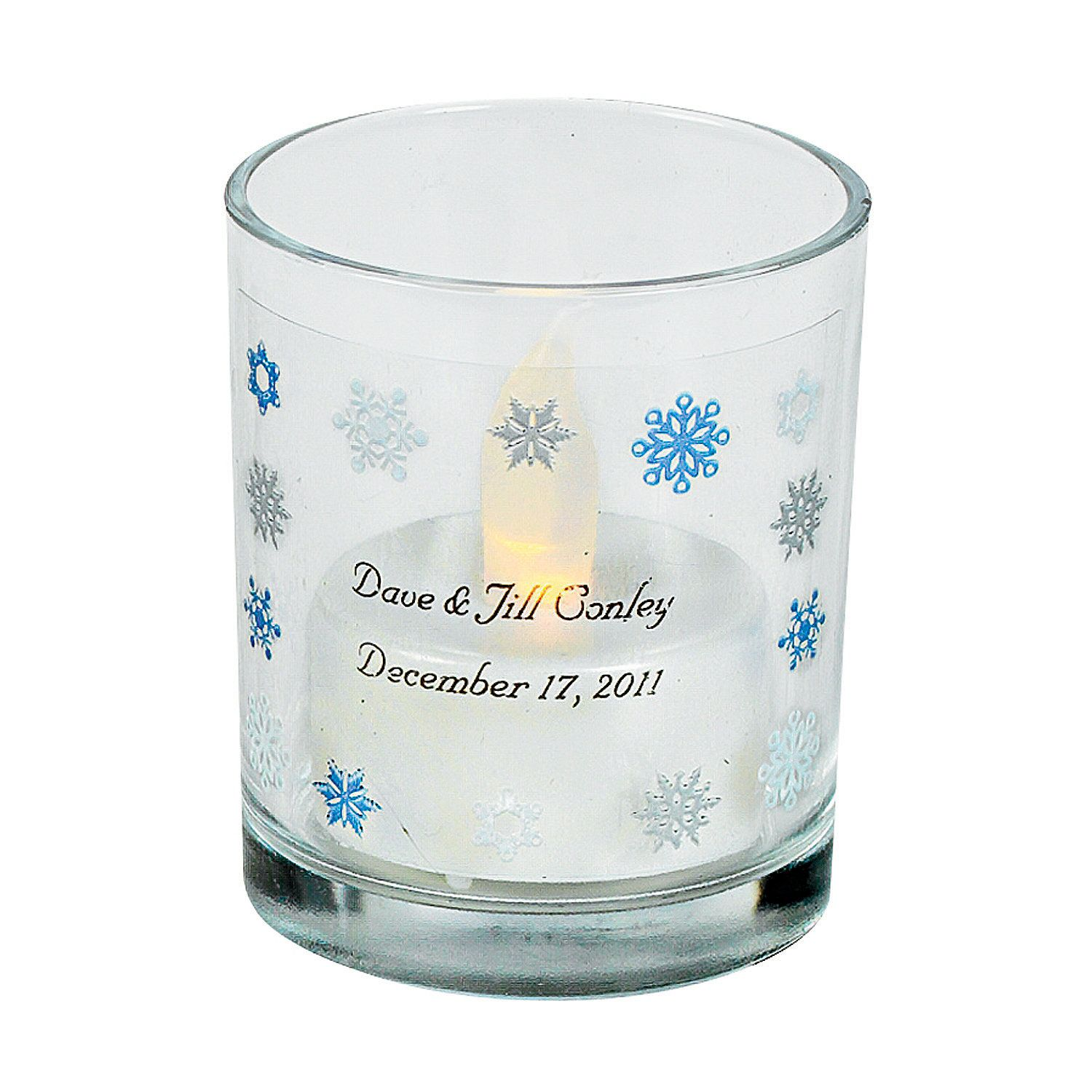 Personalized Snowflake Votive Holders - OrientalTrading.com ...