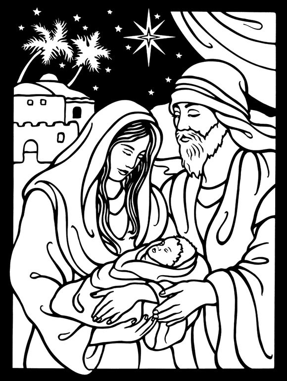 Welcome To Dover Publications Nativity Stained Glass Coloring