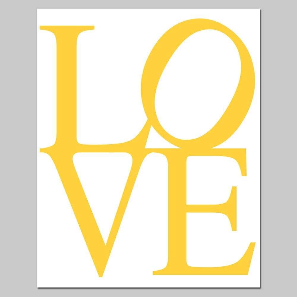 LOVE - 11x14 Typography Print - Modern Nursery Decor - Yellow, Pink ...