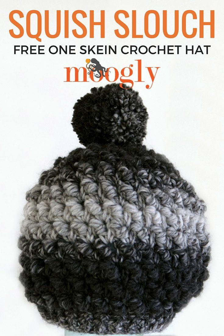 Squish Slouch - free one skein crochet hat pattern on Mooglyblog.com ...