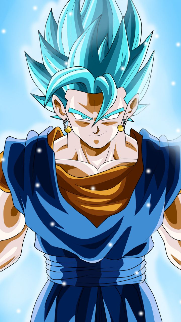 Attitude, Vegito, Dragon Ball Super, blue hair, 720x1280 wallpaper
