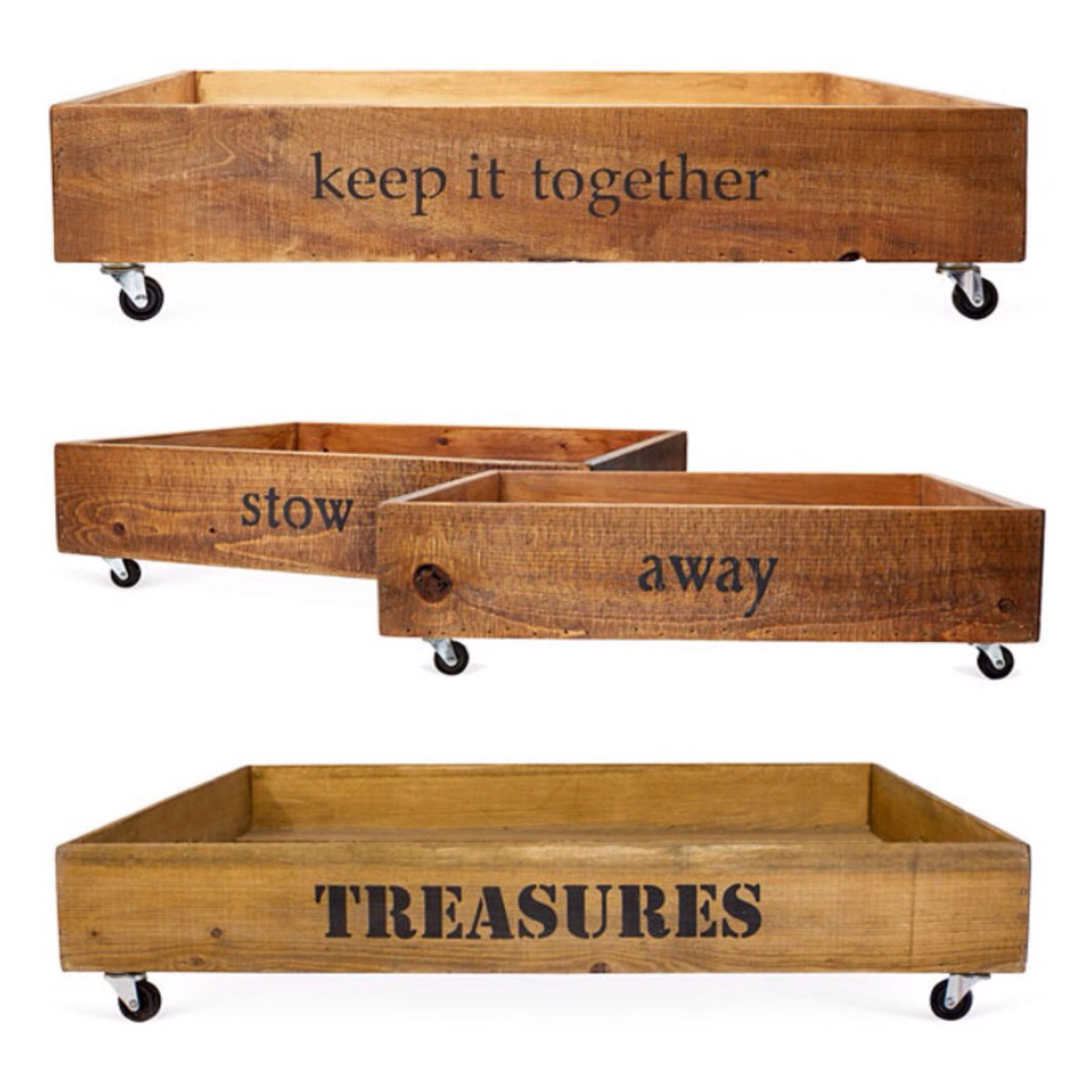 Fun ideas for rolling storage under the bed. Crate