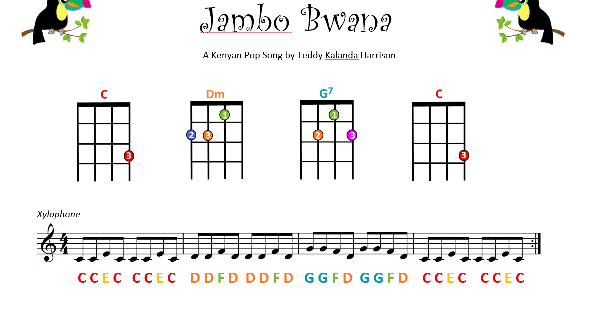Play along with this video and recording of Jambo Bwana