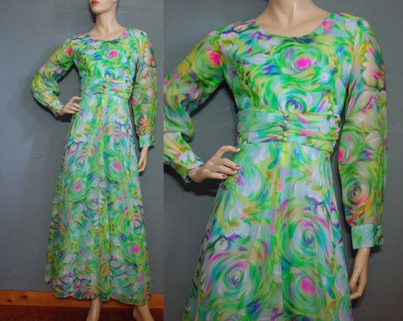 70s Hostess Dress Vintage 1970s Green Multi Maxi by mustangannees, $74.00