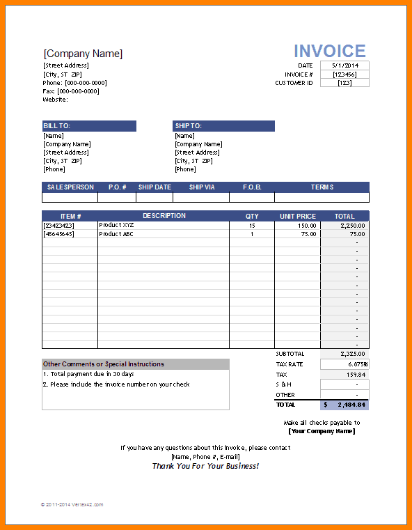 Hourly Invoice Template Invoice Template Invoice Sample Invoice Template Word