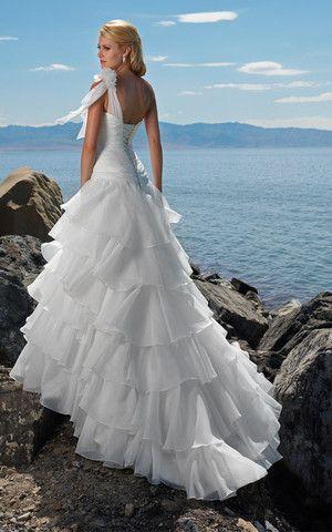 Organza sexy romantisches Brautkleid mit tiefer Taille mit Kapelle Schleppe