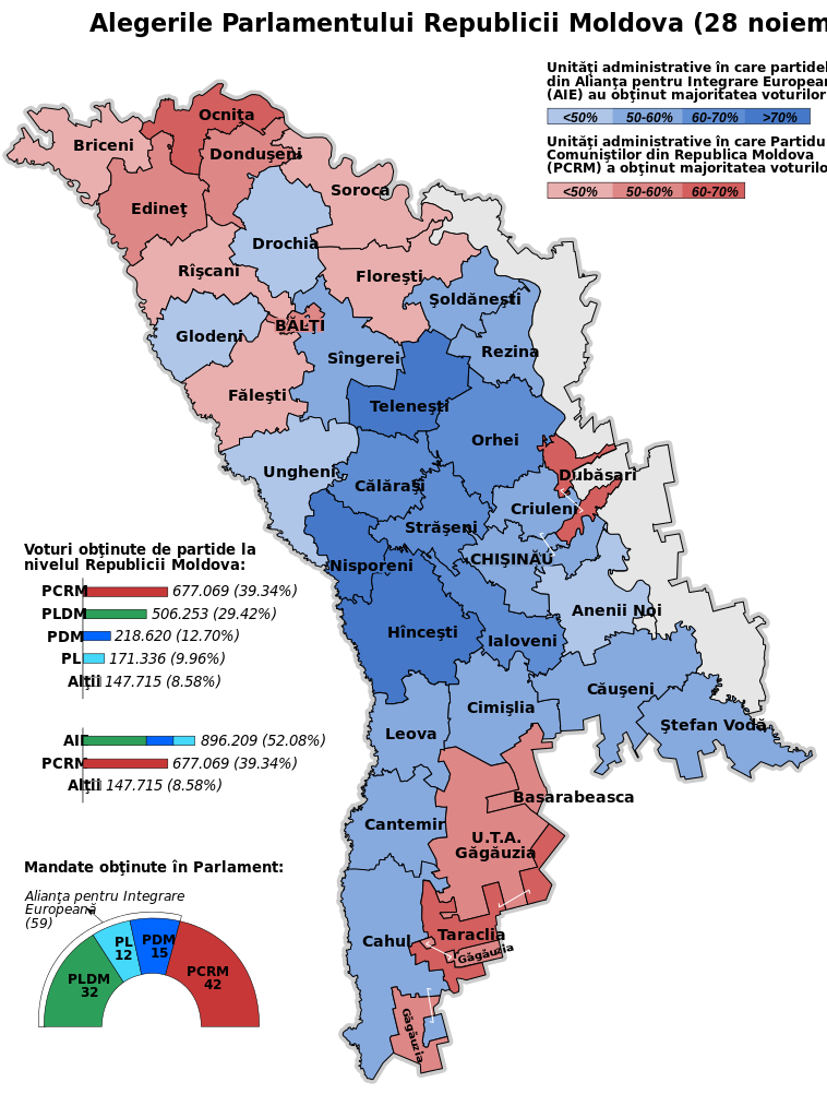 Election map showing the results by administrative divisions of