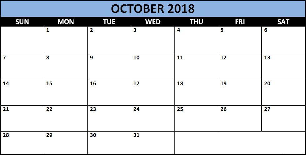 Printable october 2018 word calendar template october 2018 printable october 2018 word calendar template maxwellsz