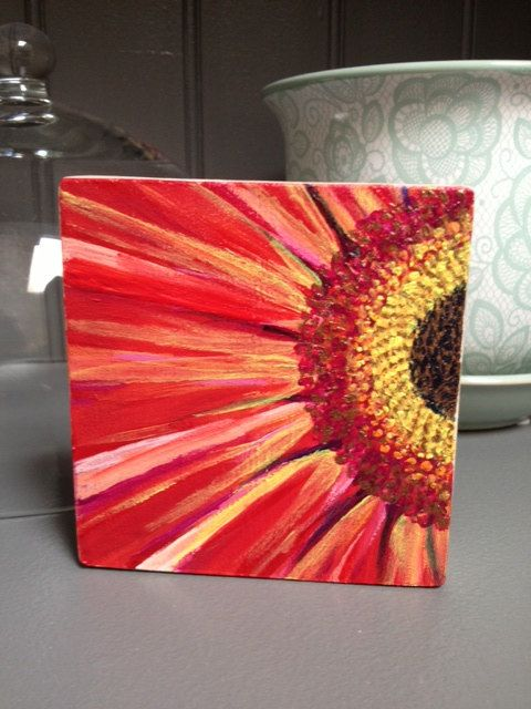 DarlingFlorals Acrylic Painting on reclaimed maple hardwood A