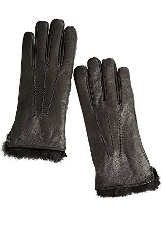 Mens Lambskin Leather Gloves with Rabbit Fur Lining BLACK Size XLARGE 10 ** Check out the image by visiting the link.