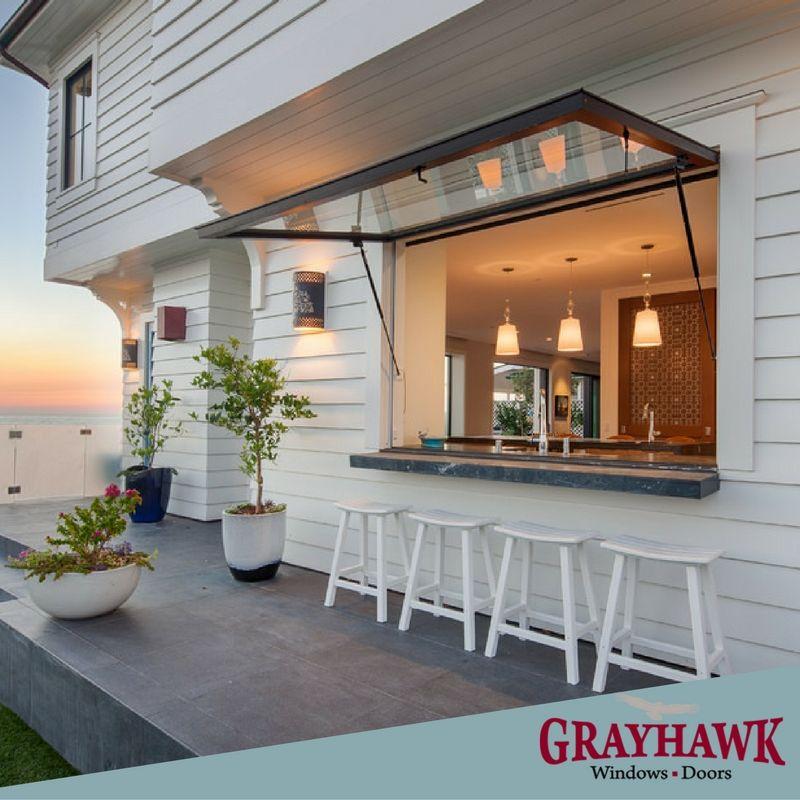 941 487 2964 Get The Beach Look With Grayhawk Windows Doors Outdoor Kitchen Design House Design Pass Through Window