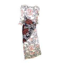 1970s Bill Blass Floor Length Floral Silk Gown