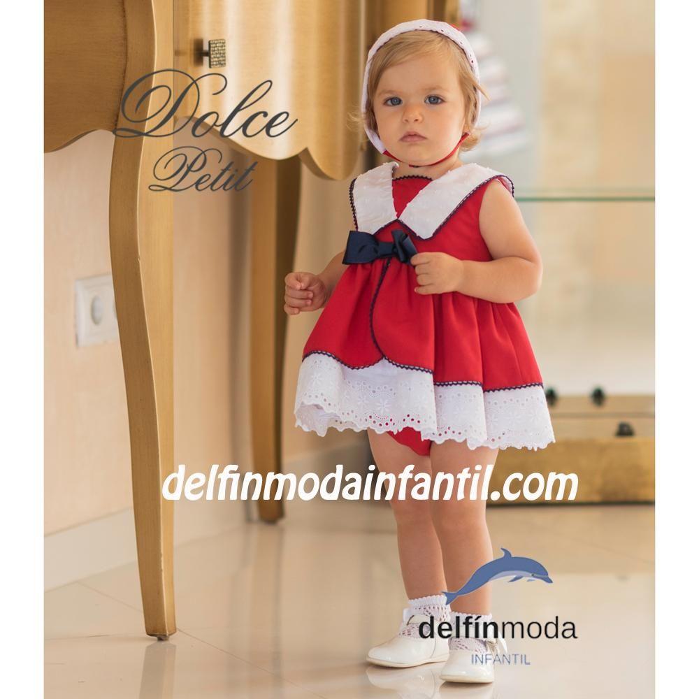 57a44de8c Comprar Vestido para bebe DOLCE PETIT rojo lazo marino
