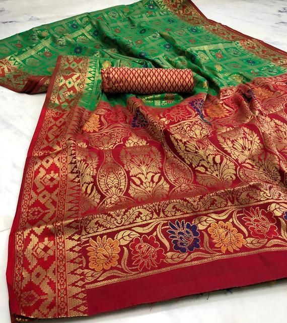 Heavy panetar silk saree / green n red saree / wedding saree / designer saree