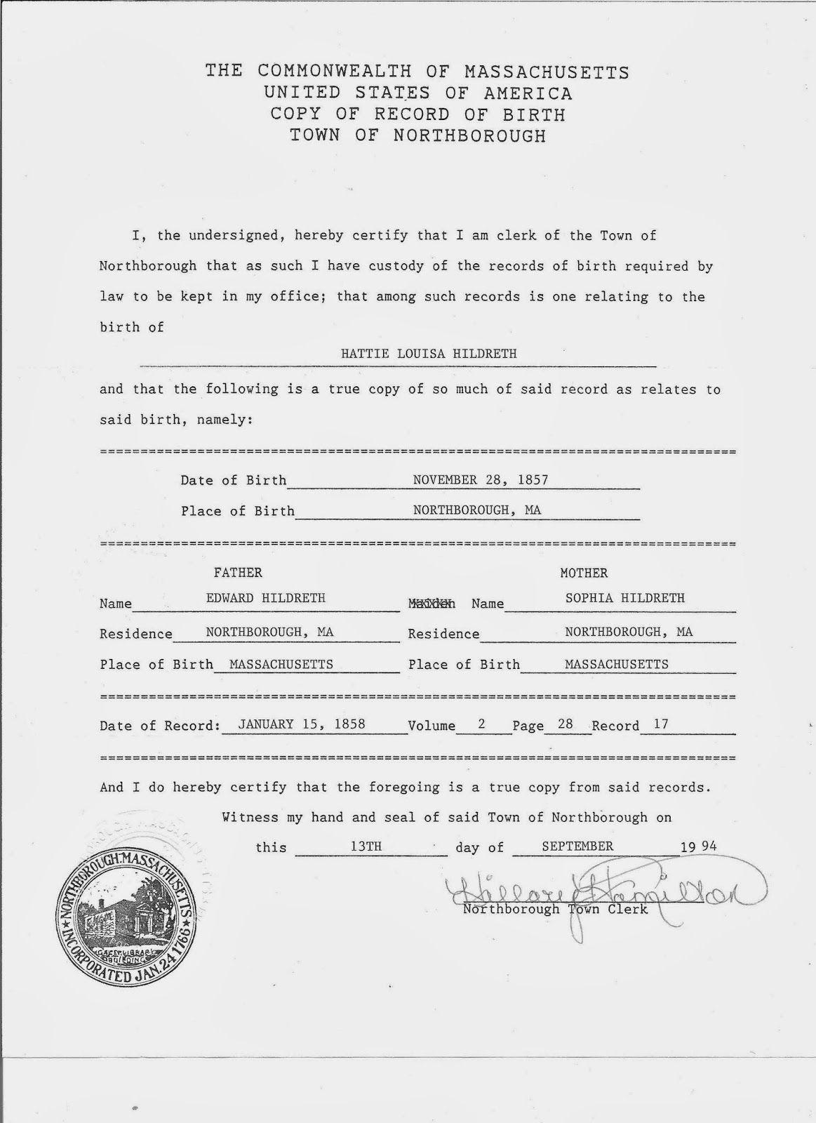 Genea musings treasure chest thursday birth certificate for genea musings treasure chest thursday birth certificate for hattie louisa hildreth born aiddatafo Gallery