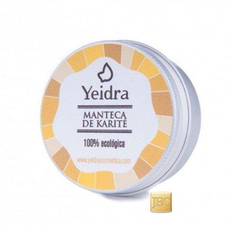 MANTECA DE KARITÉ ECO YEIDRA  La manteca de karité previene el envejecimiento de la piel y la provee de una barrera que evita la deshidratación y la protege de las agresiones ambientales. Muy hidratante y nutritiva para la piel del rostro y cuerpo. El 100% de los ingredientes son de origen natural y proceden de agricultura ecológica