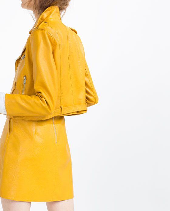 Veste simili cuir femme zara jaune