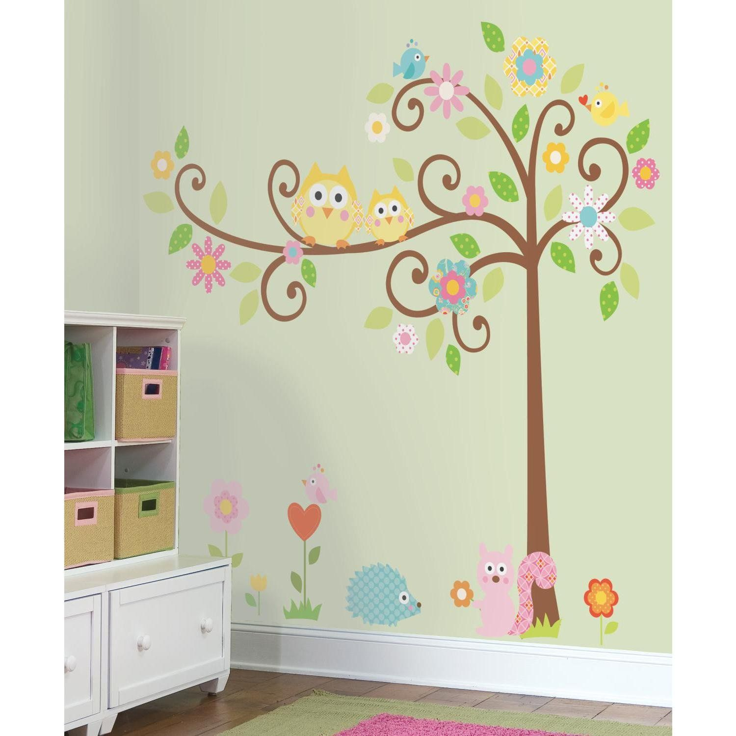 Roommates Repositionable Childrens Wall Stickers   Scroll Tree