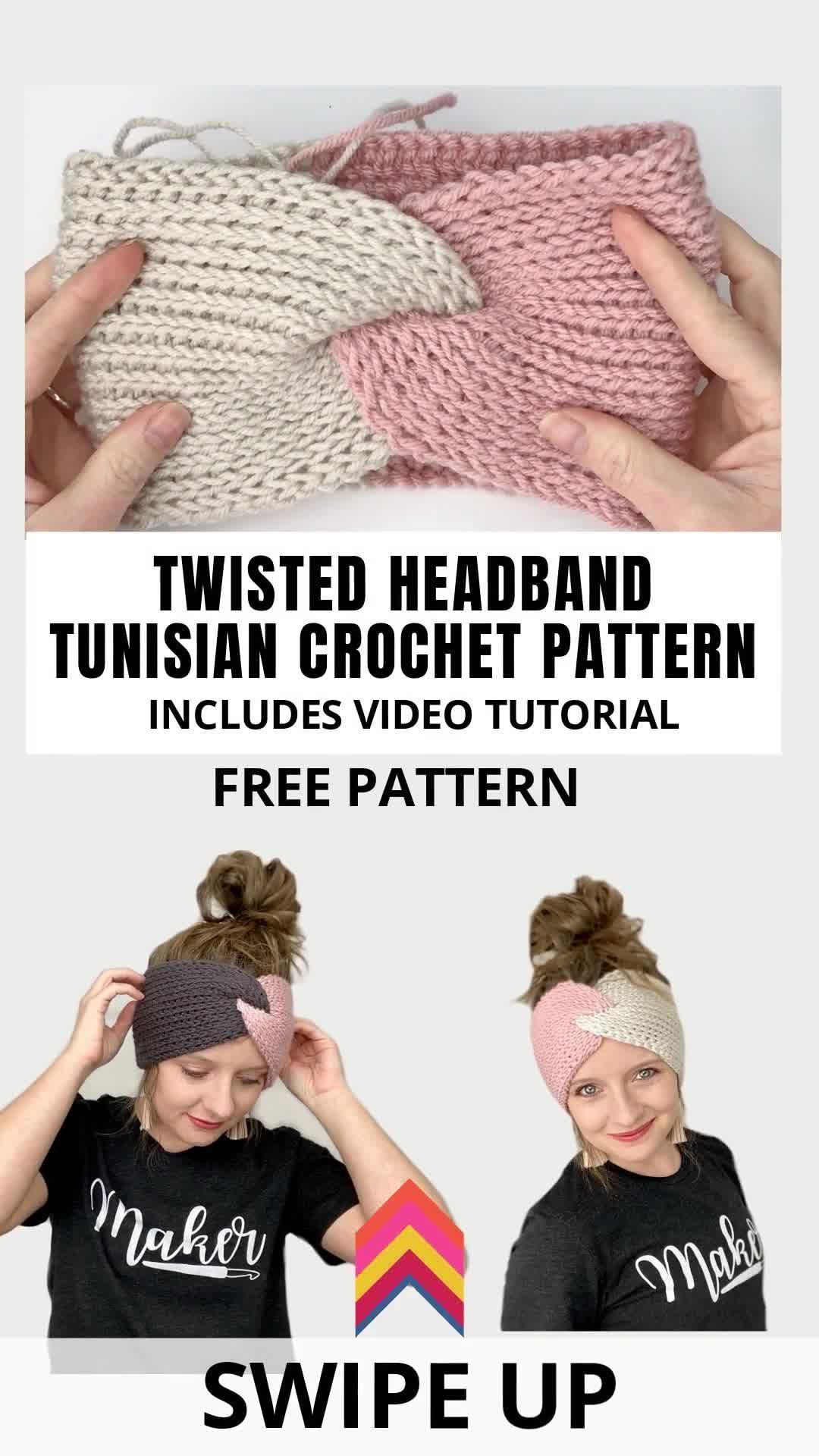 Photo of How To Make A Tunisian Crochet Twisted Headband- Free –