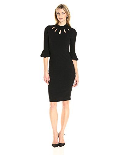 Women S 3 4 Bell Sleeved Ribbed Hachi Sheath Dress Women S Suiting