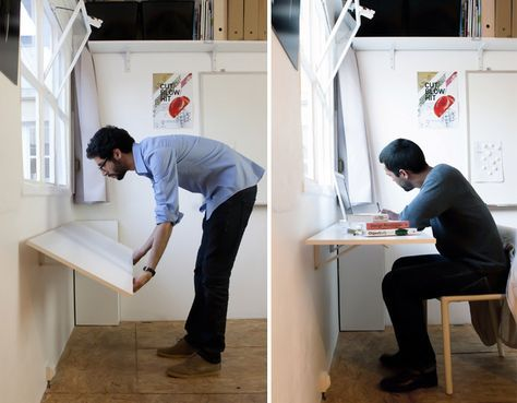 Bold Design Transforms A Tiny Rooftop Machine Room Into A Modern Office In  Paris. Fold Down TableLaundry ...