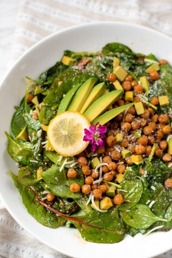 This Lemony Kale Spinach and Avocado Salad with Salty Roasted Chickpeas with a Lemony Bacon Asiago Vinaigrette is a nutrient dense powerhouse of a salad that is bursting with flavor and satisfying enough to be an enjoyable entree or main dish. Naturally Recipe modifications for and included.