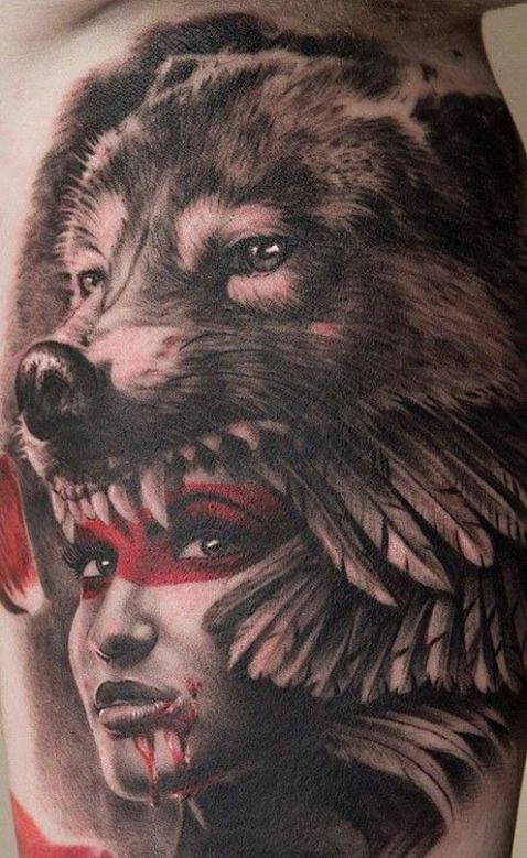 she has the ultimate companion inked inkedmag tattoo realism portrait animal indian. Black Bedroom Furniture Sets. Home Design Ideas