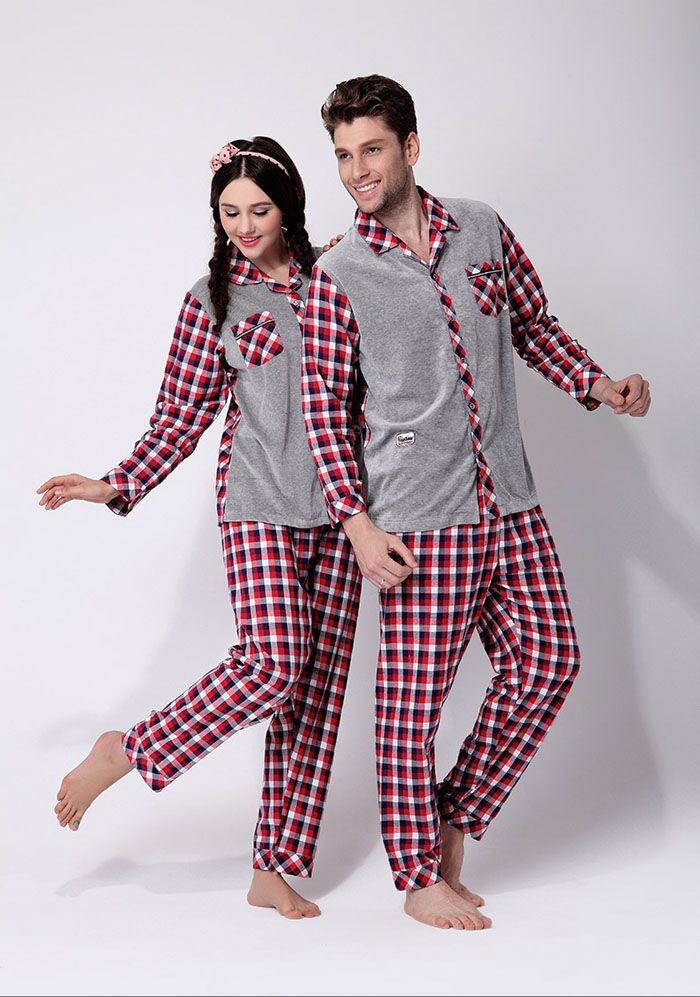 Velvet grid model couple pajamas Matching couple outfits